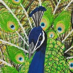 Peacock painting, Original blue and green Peacock wall art, Acrylics on stretched canvas Peacock Wall Art, Peacock Painting, Etsy Handmade, Handmade Items, Eclectic Wall Decor, Original Art, Original Paintings, Mini Heart, Small Shops