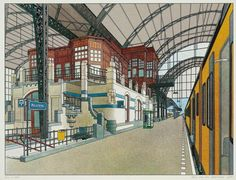 Theo van den Boogaard - Railway stations for NS Building Art, Building Structure, Happy City, The Great, Future Wallpaper, Holland Netherlands, Ligne Claire, Bd Comics, Vintage Postcards