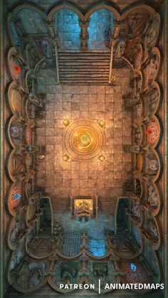 This big hall with two rows of statues and bas-reliefs has a magical crystal in the middle that could be the main showpiece or an antitheft system, who knows. Dungeons And Dragons Art, Dungeons And Dragons Homebrew, Dungeon Tiles, Dungeon Maps, Fantasy Rpg, Fantasy Battle, Fantasy Map Making, Dnd World Map, Pathfinder Maps