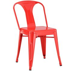 LexMod Reception Modern Dining Chair, Red
