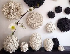 Decorative porcelain flowerheads from Wallflowerlondon