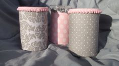 Set of 3 Girly Gray and Pink Baby Nursery Organizer Decorations or Baby Shower Table Centerpieces