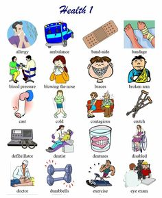 Health vocabulary list with pictoral support. Good for newcomers and low English proficiency ELLs.