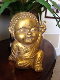Gold Modern Happy BABY THAI BUDDHA PEACE SIGN Good Luck Spring Fun Home Decor on eBay!