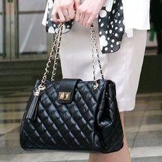 Bolsa de couro diamante negro | Bolsas | | TriClick R$89,90