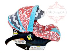 Coral Turquoise and Grey infant car seat cover made by SassyStork, $89.99