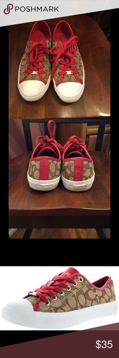 Coach empire sneakers Authentic coach red and canvas sneakers gently worn but still in great condition no rips no tears clean non smoker coach Shoes Sneakers