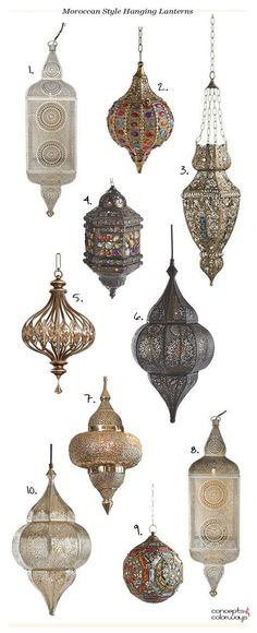 moroccan style hanging lanterns, bohemian style pendants, bohemian lighting, moroccan lighting, product roundup - My Interior Design Ideas Morrocan Decor, Moroccan Bathroom, Bohemian Bathroom, Moroccan Lamp, Moroccan Lanterns, Moroccan Design, Moroccan Bedroom Decor, Moroccan Pendant Light, Moroccan Kitchen