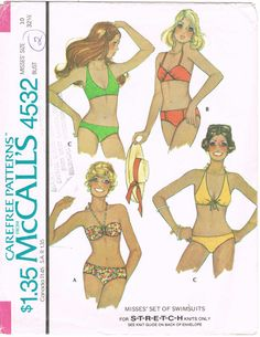 McCalls 4532 - Vintage 1970s Sewing Pattern - Misses' Set Of Swimsuits