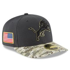 9743ade9fd3 Men s Detroit Lions New Era Graphite Camo Salute To Service Sideline Low  Profile Fitted Hat