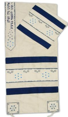 e0b9703857 White Silk Tallit with Dark Blue Stripes and Turquoise Stars of David by  World of Judaica