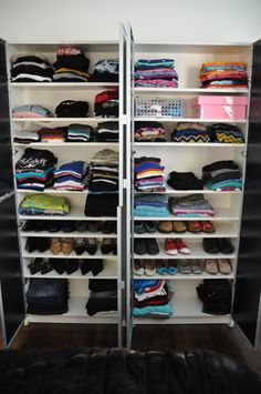 Bookcases for clothing and shoes. This would be nice for a kids closet, as long as they can keep the door shut so the cat doesn't knock everything off the shelves.