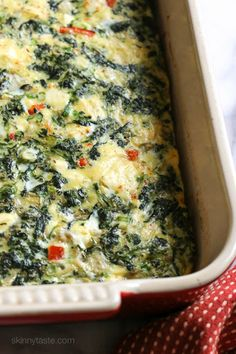 Spinach, Feta, And Artichoke Breakfast Bake With Frozen Chopped Spinach, Scallions, Artichokes, Red Pepper, Garlic, Fresh Dill, Large Eggs, Large Egg Whites, Fat Free Milk, Grated Parmesan Cheese, Kosher Salt, Ground Pepper, Feta Cheese Crumbles