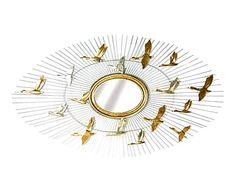 Espejo de pared Birds - dorado