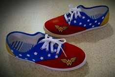 Painted Wonder Woman canvas shoes
