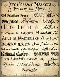The Cottage Market: Fabulous Free Fonts for February