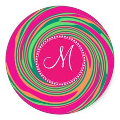 Monogram Coral Hot Pink Green Whirlpool Swirl Sticker SOLD on Zazzle
