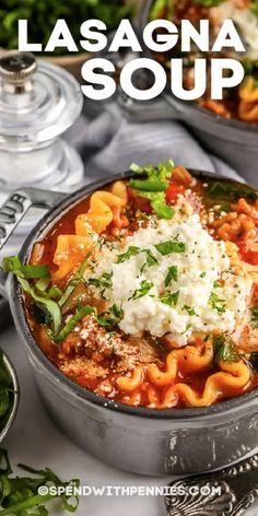 Crockpot Veggie Lasagna, Lasagna Soup, Easy Homemade Soups, Homemade Lasagna, Greek Recipes, Soup Recipes, Cooking Recipes, Italian Sausage Pasta