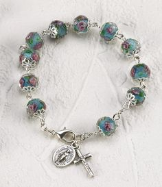 f1e982f830 Unique rosary bracelet with crystal beads. Each bead features beautiful  pink rose. Silver Crucifix · Homemade BraceletsHomemade ...