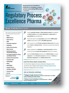 3rd Annual Conference Regulatory Process Excellence Pharma @ Pullman Munich, Theodor-Dombart-Straße 4, München, 80805, Germany. Time:Monday June 30, 2014 at 9:00 am (ends Tuesday July 01, 2014 at 5:00 pm) Applying Process Excellence methods for managing complex systems and making RIM projects a success!. Category:Conferences . Speakers: Managing Director, Merck, Director, Timm Pauli, Regulatory Informatics and Submission Management,Jörg Schnitzler. Price :€ 2.449