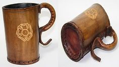 Vintage Hand Made Leather Tankard Unusual Item Glass Beer Cup Browar
