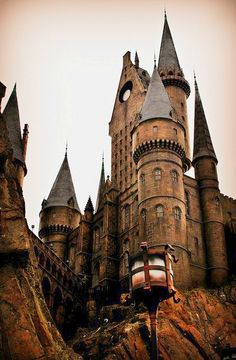 Hogwarts Castle of Harry Potter. Orlando Florida.  Huge line, way crowded. wheooo