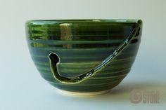 Yarn Bowl Bottle Green Wool Bowl by ThrownInStone on Etsy, Ceramic Wool, Earthenware Clay, Yarn Bowl, Green Wool, High Gloss, Ceramics, Bottle, Etsy, Crochet