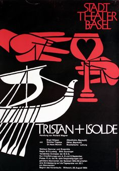 Tristan + Isolde - Stadt Theater Basel by Hofmann, 1954 Armin | Vintage Posters at International Poster Gallery   ***Colors, text