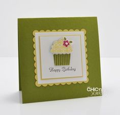 I used my cricut with accent essentials cartridge accent 47, on page 78, sift for a solid scalloped square and doddle charms cartridge for the cupcake, card