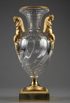 Crystal vase with gilt bronze mounts, circa 1830