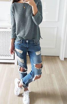 "fashionn-enthusiast: "" Top Ripped jeans """