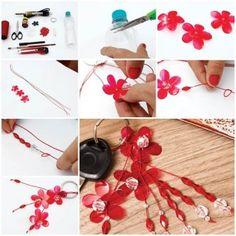 DIY Flower Key Chains from Plastic Bottle 1