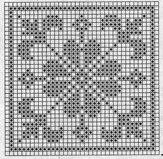 Quatrat in Filethäkelei Filet Crochet Charts, Crochet Motifs, Crochet Cross, Crochet Diagram, Knitting Charts, Crochet Squares, Crochet Doilies, Crochet Patterns, Crochet Gratis