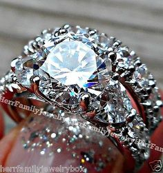 jewelry: 14k White Gold 925 Sterling Silver Round Diamond cut Engagement Ring Wedding Set #Jewelry - 14k White Gold 925 Sterling Silver Round Diamond cut Engagement Ring Wedding Set...