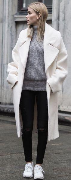 Oversized White Coat Fall Street Style Inspo by Elsa Ekman