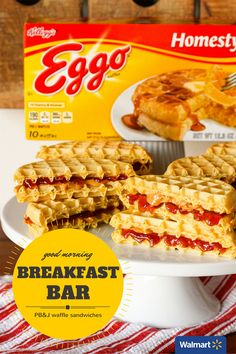 PB&J Waffle Sandwiches | Walmart – Make a twist on the classic peanut butter and jelly sandwiches by using Kellogg's Eggo Waffles instead of bread. The waffles add a touch of sweetness and crispiness and the peanut butter gets gooey when spread on the still warm waffles. Add some sliced fruit for even more flavor and/or try different types of nut butter to change things up.