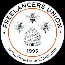 Freelancers Union logo with bees and beehive
