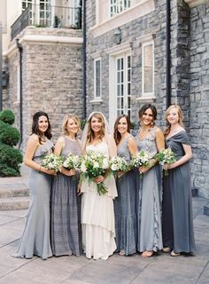 Photo: Brett Heidebecht, Dress: BHLDN; Grey tonal bridesmaids dresses.