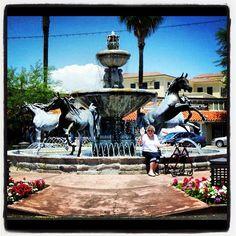 Mom at bronze horse statue Downtown #scottsdaleaz #statues #fountains - @judyo53- #webstagram