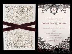 "Shannen Doherty's Two Color Letterpressed Laser Cut Sleeve Wedding Invitation Suite. Shannen's Invitation was featured on her show ""Shannen Says"" paperworksandevents.com #weddinginvitation #shannendoherty #shannensays #burgundyandblack #lasercut #letterpressed #velvetribbon"