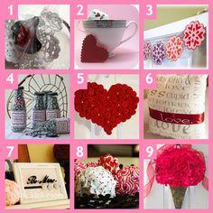 1. Doily Headband  2. Valentine Marshmallow Tea Bags  3. Valentine Snowflake Garland  4. Valentine Bottle Labels  5. Rosette Heart  6. Subway Art Pillow  7. Be Mine Framed Art  8. Valentine Ruffle Balls  9. Rose Door Decor