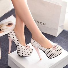 Womens Polka Dot Bowknot Pumps Hidden Platform Slim Stiletto High Heels Shoes #BrandNew #Stilettos
