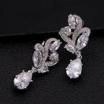 Bridal Earrings Bridal Cubic Zirconia Crystal Drop  Platinum Plated bridal Cubic Drop Earrings