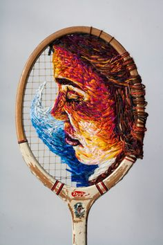 This upcycled tennis racket art by Danielle Clough is just brilliant. Danielle uses the tennis rackets as a canvas for her embroidered art. Modern Embroidery, Embroidery Art, Cross Stitch Embroidery, Contemporary Embroidery, Sculpture Textile, Textile Art, Art Diy, Thread Art, String Art