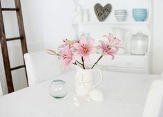 Pretty glass float & lilies