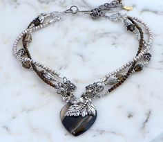 Boho Chic Stone Necklace, Multi Strand Gemstone Necklace, Silver Bohemian Necklace, Freshwater Pearls Smoky Quartz Botswana Stripped Agate by KarenTylerDesigns on Etsy
