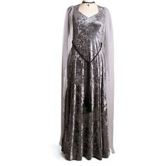 Silver Elven Style Ravenswing Dress (140 AUD) ❤ liked on Polyvore featuring dresses, stretch dress, stretchy dresses and silver dress