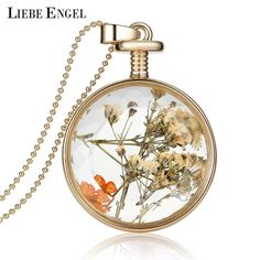 Find More Pendant Necklaces Information about Women Jewelry Collares Dry Flowers Glass Necklace&Pendant  Vintage Long Chain Choker Necklace Summer Fine Jewelry 2015,High Quality necklace packaging,China necklace chunky Suppliers, Cheap necklace jewelry holder from LIEBE ENGEL A Store on Aliexpress.com