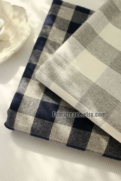 Yarn Dye Plaid Cotton Fabric/ Grey White Navy Large by fabricmade