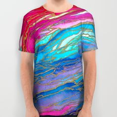 AGATE MAGIC PinkAqua Red Lavender, Marble Geode Natural Stone Inspired Watercolor Abstract Painting All Over Print Shirt by Ebi Emporium on Society 6, #colorful #clothing #clothes #unisex #fashion #tshirt #printedtshirt #alloveprint #modern #summer #marble #watercolor #design #style